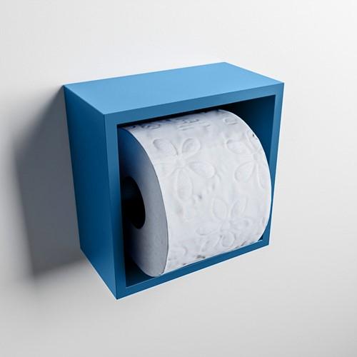 Easy Toiletrolhouder CUBE 160 solid surface  16x8,6cm kleur Jeans. Geschikt voor op en inbouw.